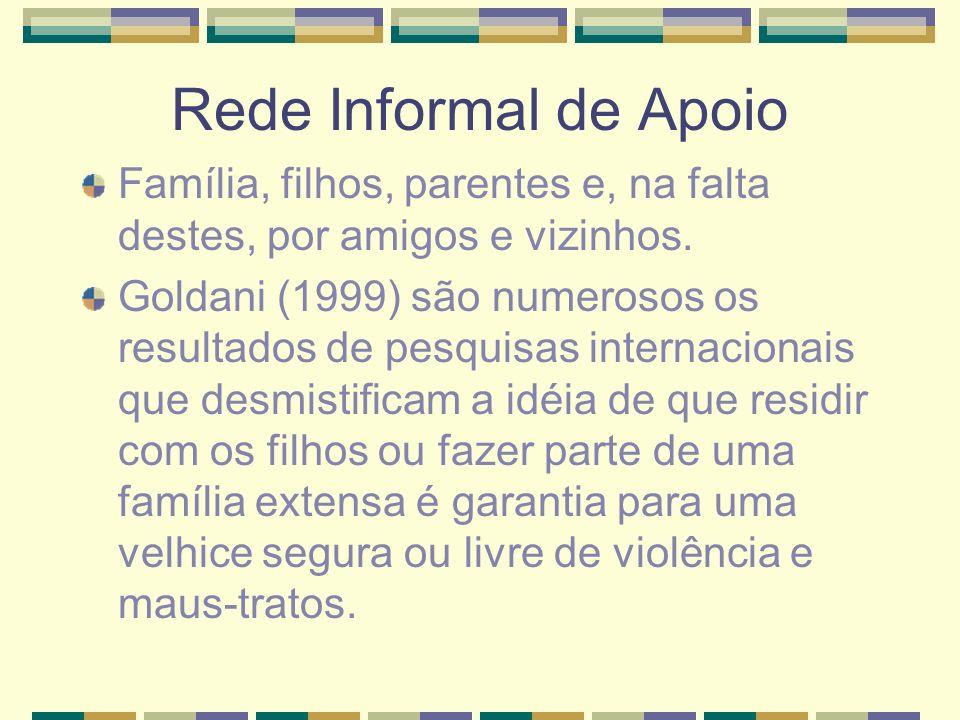 Rede Informal de ApoioFamília, filhos, parentes e, na falta destes, por amigos e vizinhos.