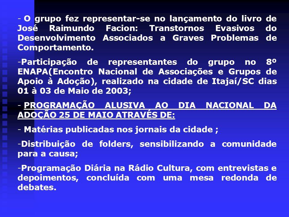 O grupo fez representar-se no lançamento do livro de José Raimundo Facion: Transtornos Evasivos do Desenvolvimento Associados a Graves Problemas de Comportamento.