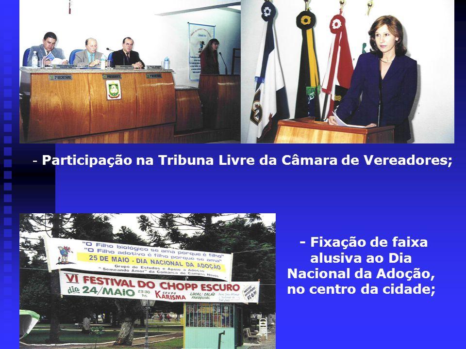 - Participação na Tribuna Livre da Câmara de Vereadores;