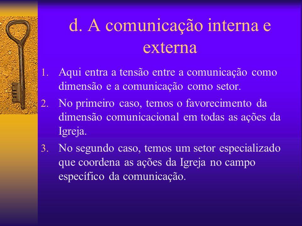 d. A comunicação interna e externa