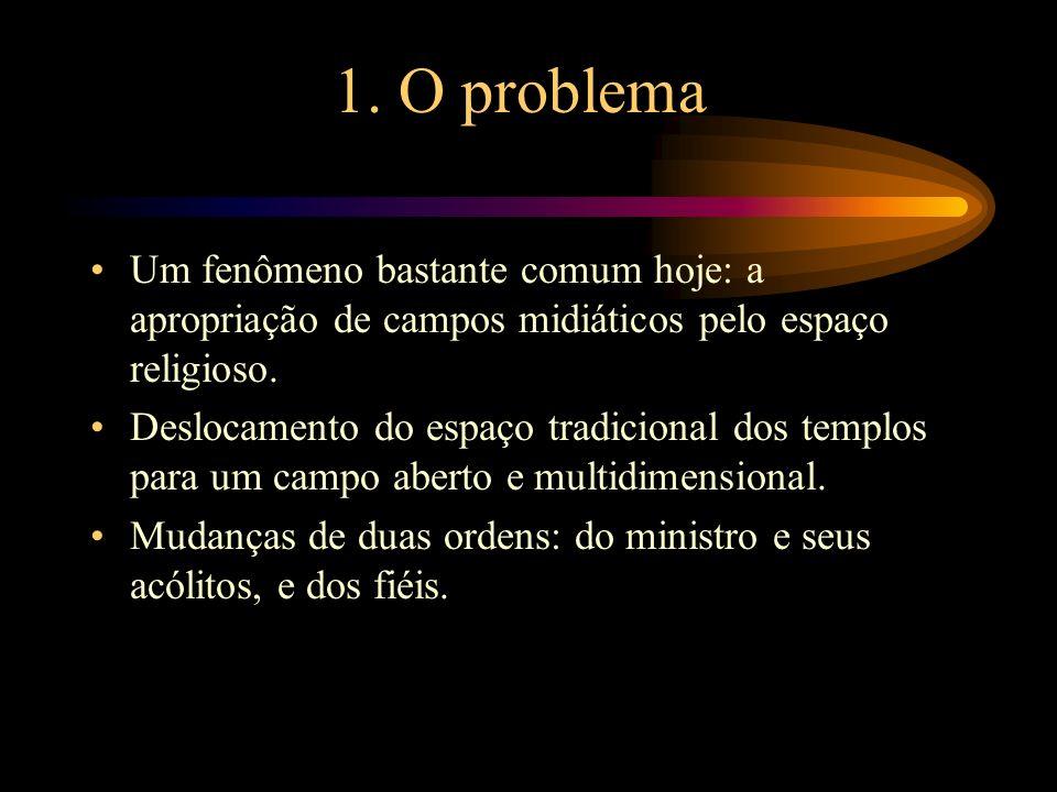 1. O problema Um fenômeno bastante comum hoje: a apropriação de campos midiáticos pelo espaço religioso.