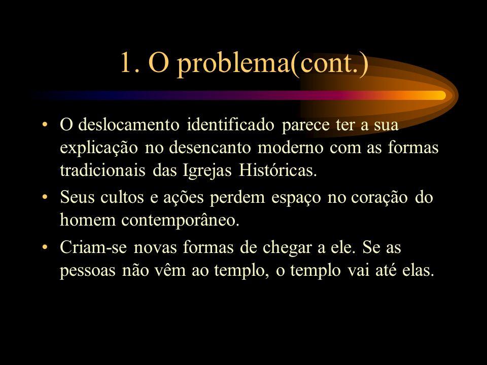 1. O problema(cont.)O deslocamento identificado parece ter a sua explicação no desencanto moderno com as formas tradicionais das Igrejas Históricas.