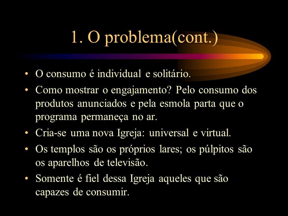 1. O problema(cont.) O consumo é individual e solitário.
