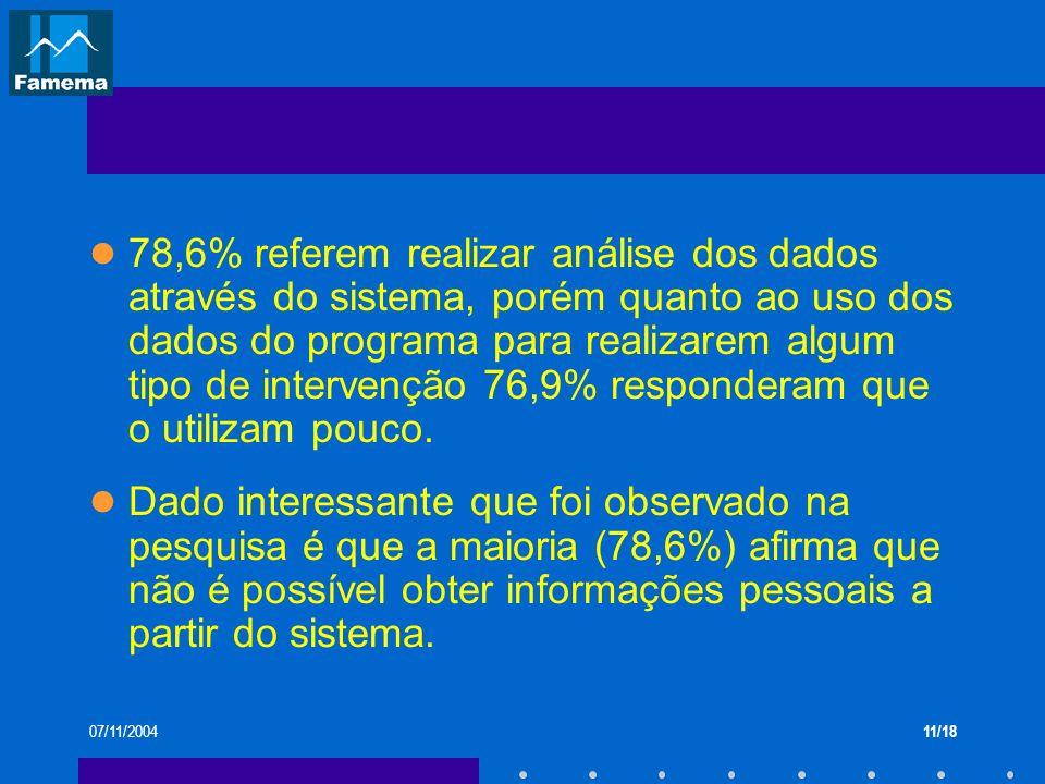 78,6% referem realizar análise dos dados através do sistema, porém quanto ao uso dos dados do programa para realizarem algum tipo de intervenção 76,9% responderam que o utilizam pouco.