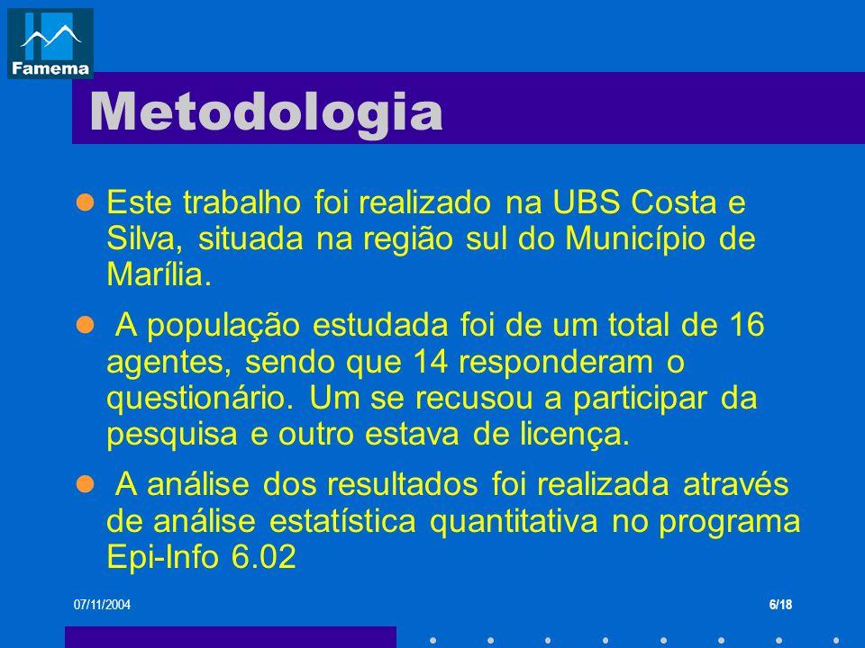 Metodologia Este trabalho foi realizado na UBS Costa e Silva, situada na região sul do Município de Marília.