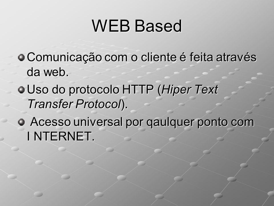WEB Based Comunicação com o cliente é feita através da web.