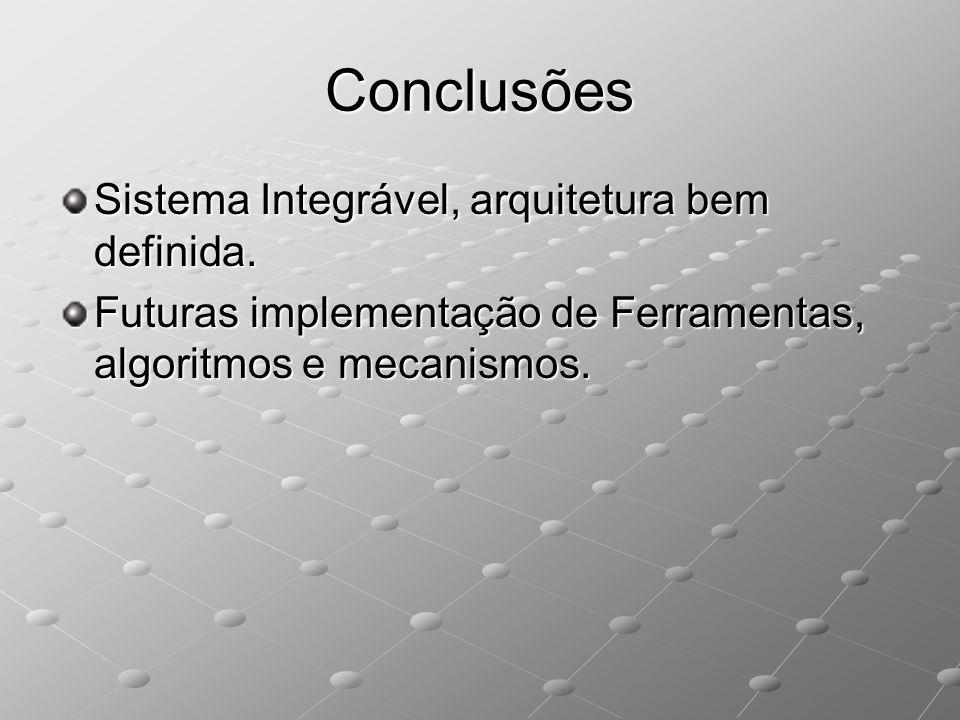 Conclusões Sistema Integrável, arquitetura bem definida.