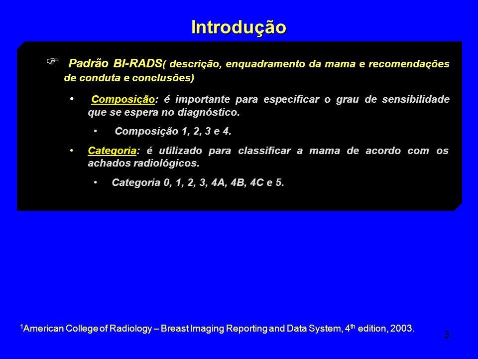 Introdução Padrão BI-RADS( descrição, enquadramento da mama e recomendações de conduta e conclusões)