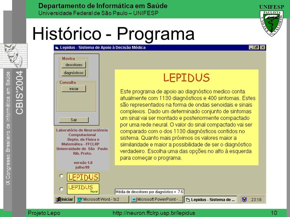 Histórico - Programa Projeto Lepo http://neuron.ffclrp.usp.br/lepidus