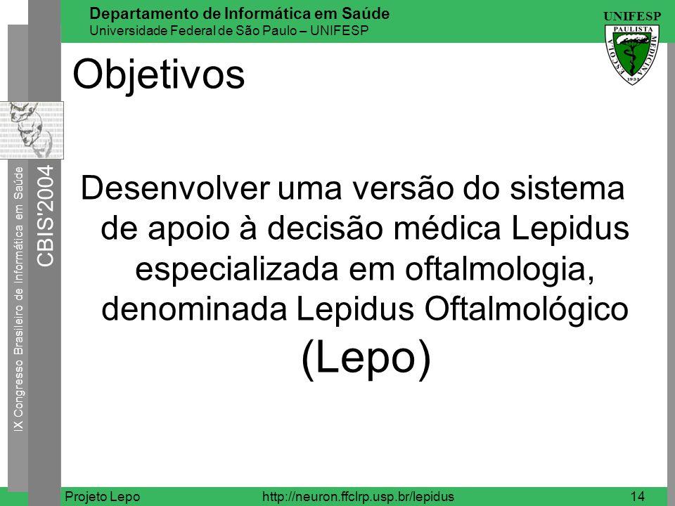 Objetivos Desenvolver uma versão do sistema de apoio à decisão médica Lepidus especializada em oftalmologia, denominada Lepidus Oftalmológico (Lepo)