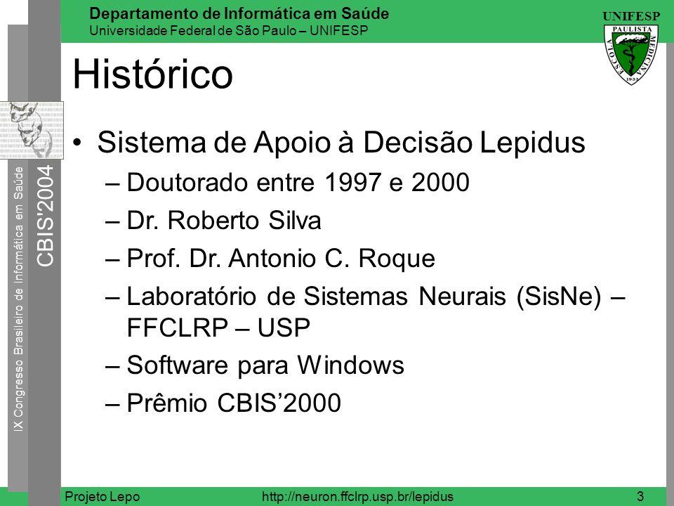 Histórico Sistema de Apoio à Decisão Lepidus