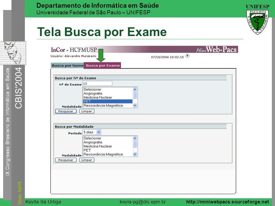 Tela Busca por Exame Slide 10/15