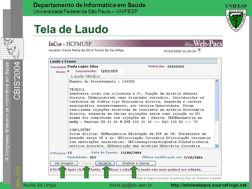 Tela de Laudo 12/03/1970 Slide 11/15