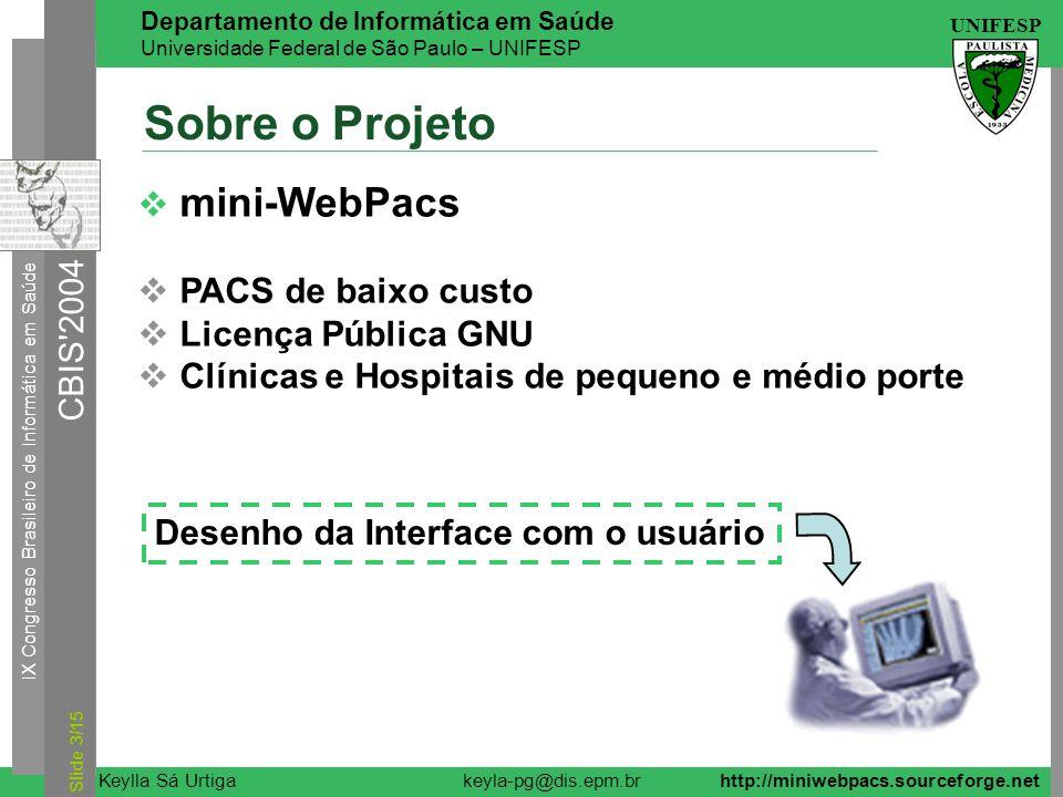 Sobre o Projeto mini-WebPacs PACS de baixo custo Licença Pública GNU