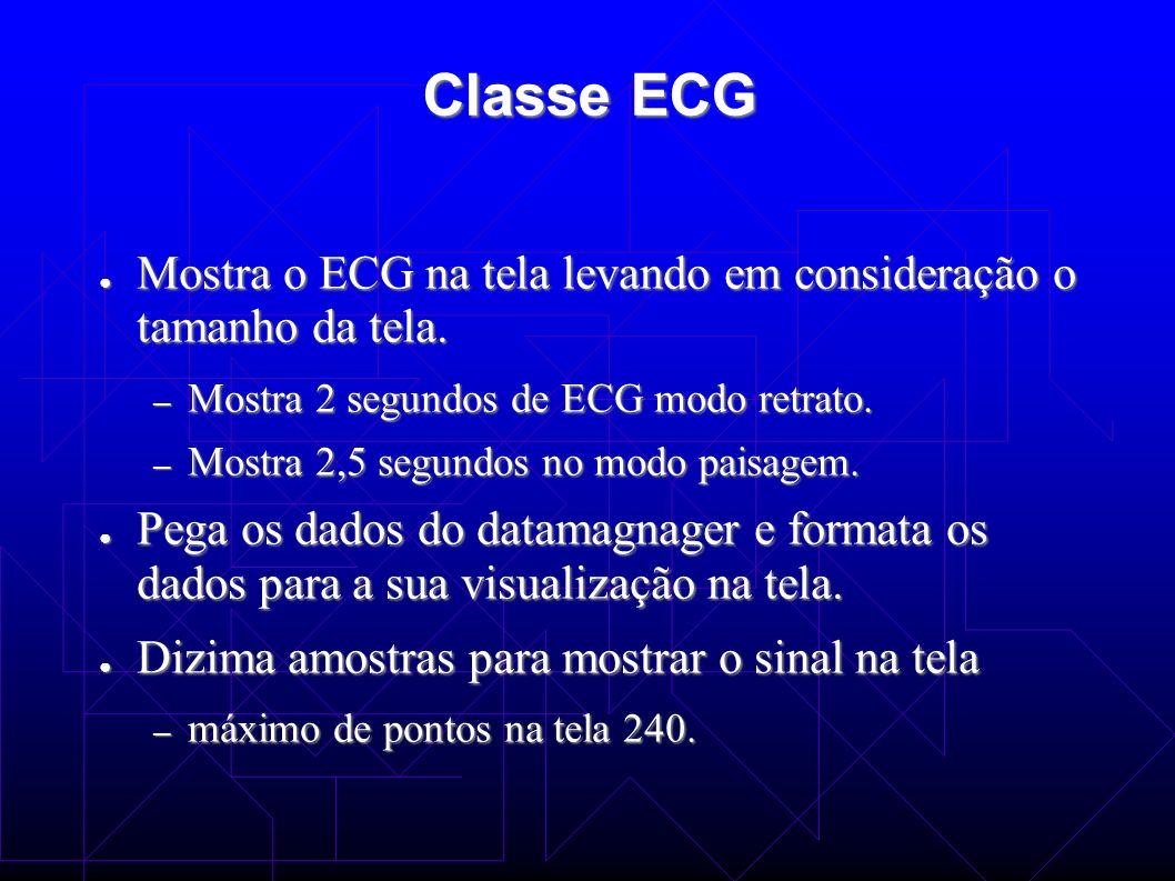 Classe ECG Mostra o ECG na tela levando em consideração o tamanho da tela. Mostra 2 segundos de ECG modo retrato.