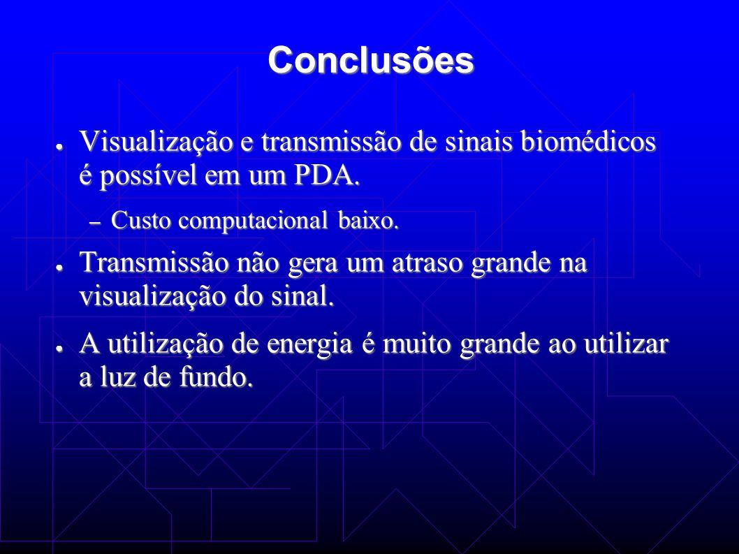 Conclusões Visualização e transmissão de sinais biomédicos é possível em um PDA. Custo computacional baixo.