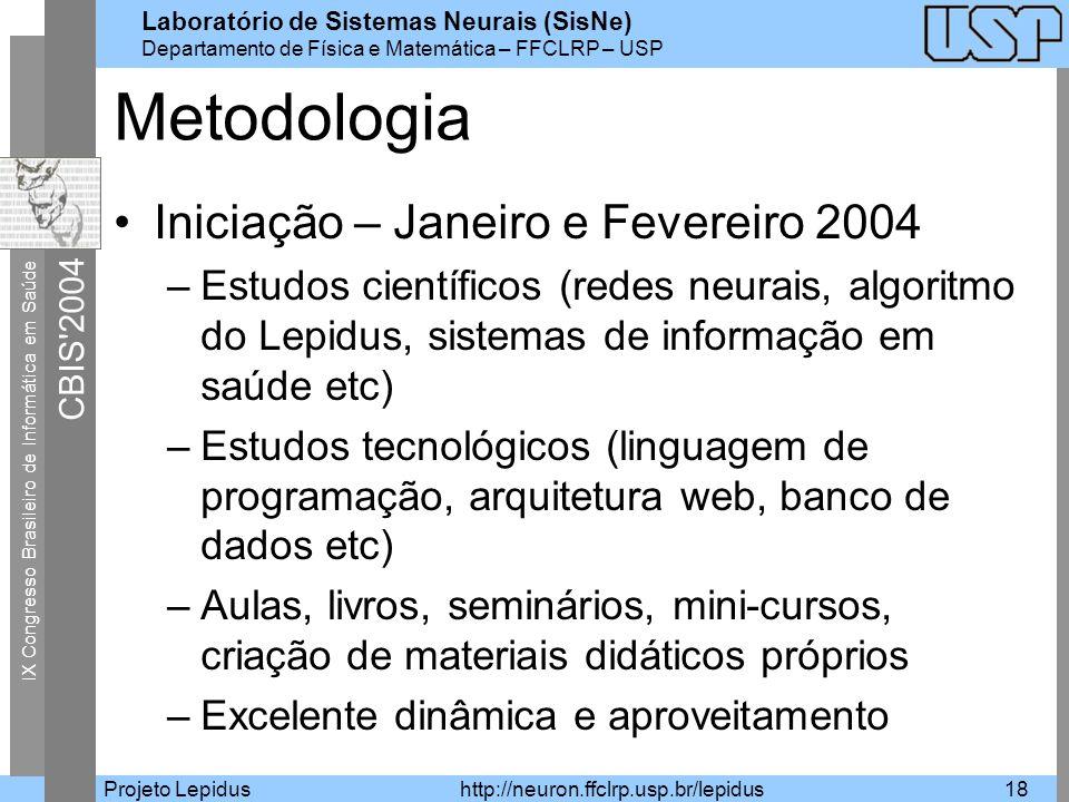 Metodologia Iniciação – Janeiro e Fevereiro 2004