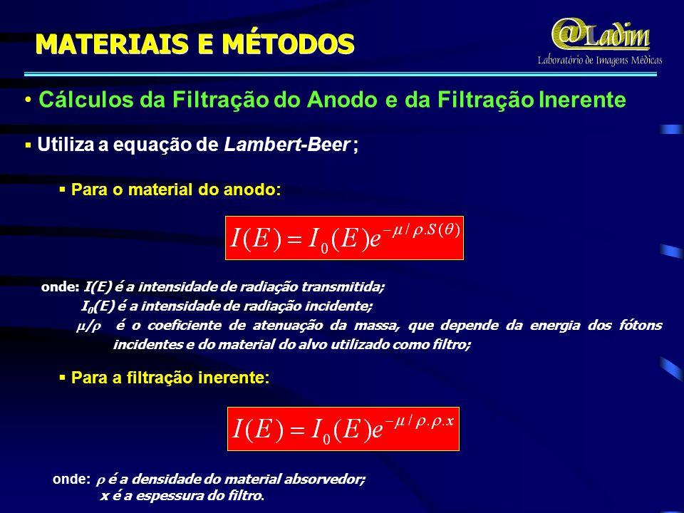 MATERIAIS E MÉTODOS Cálculos da Filtração do Anodo e da Filtração Inerente. Utiliza a equação de Lambert-Beer ;