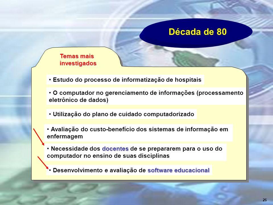 Década de 80 Temas mais investigados