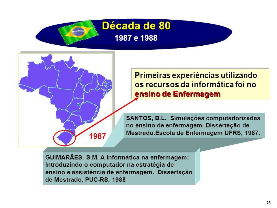 Década de 80 1987 e 1988. Primeiras experiências utilizando os recursos da informática foi no ensino de Enfermagem.