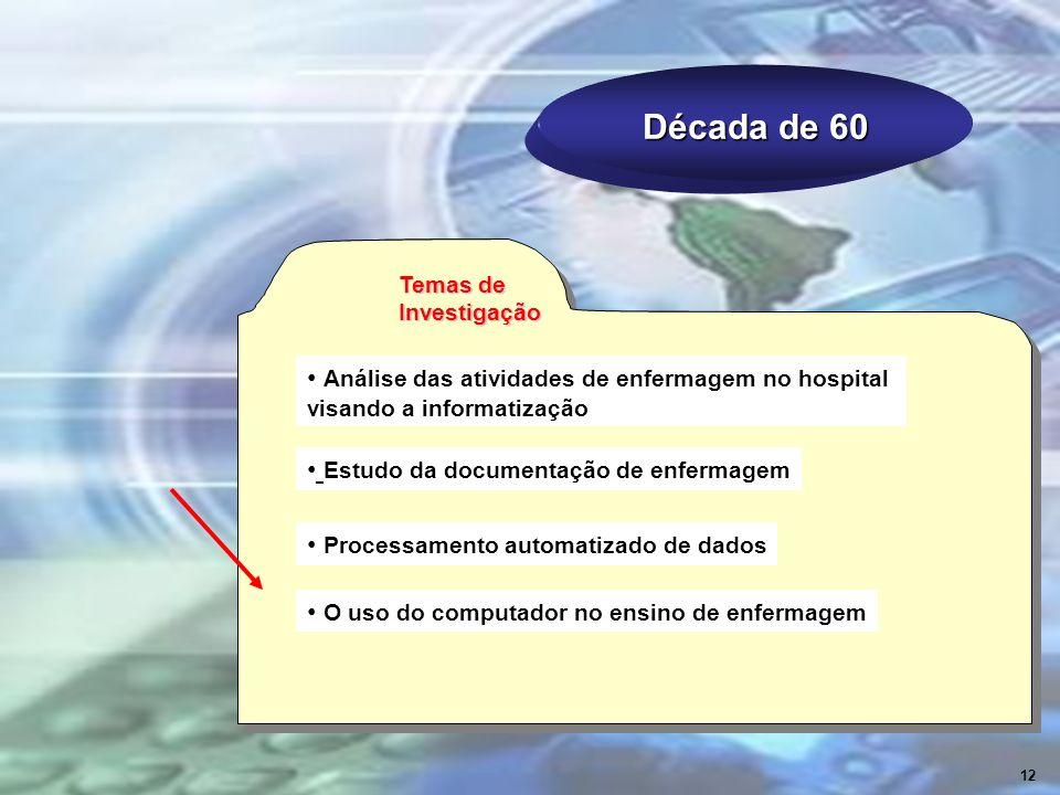 Década de 60 Análise das atividades de enfermagem no hospital