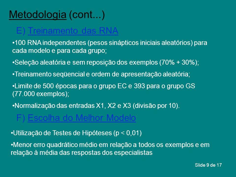 Metodologia (cont...) E) Treinamento das RNA