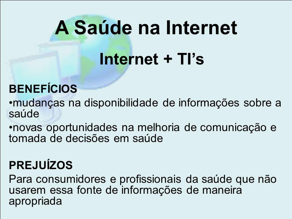 A Saúde na Internet Internet + TI's BENEFÍCIOS