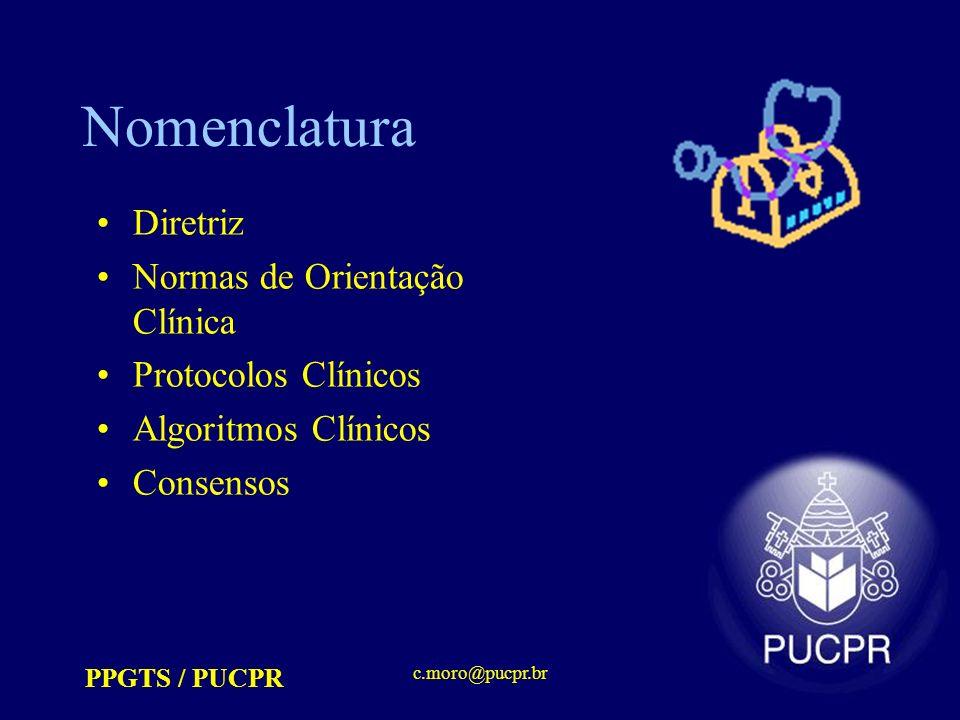 Nomenclatura Diretriz Normas de Orientação Clínica Protocolos Clínicos