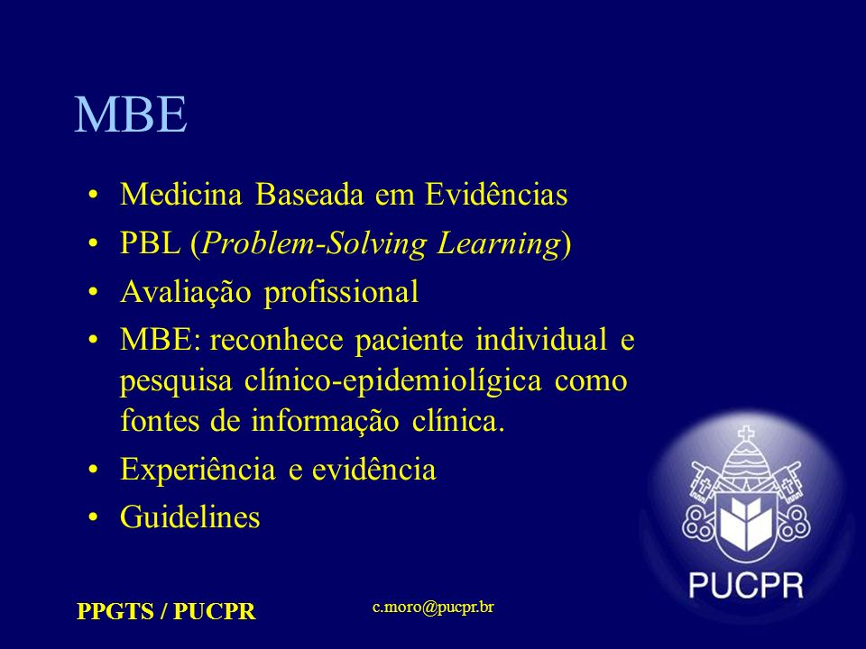 MBE Medicina Baseada em Evidências PBL (Problem-Solving Learning)
