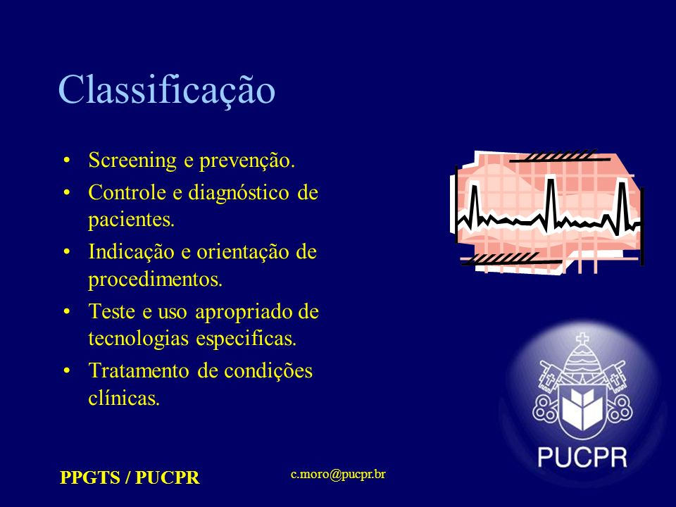 Classificação Screening e prevenção.