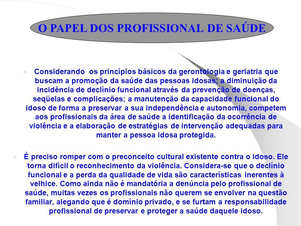 O PAPEL DOS PROFISSIONAL DE SAÚDE