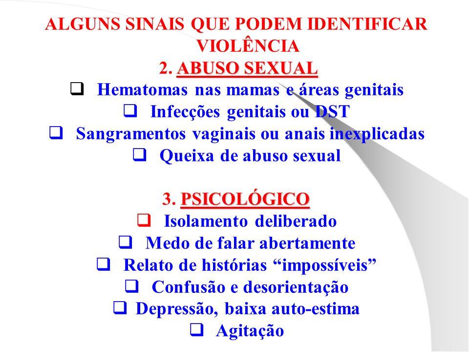 ALGUNS SINAIS QUE PODEM IDENTIFICAR VIOLÊNCIA 2. ABUSO SEXUAL