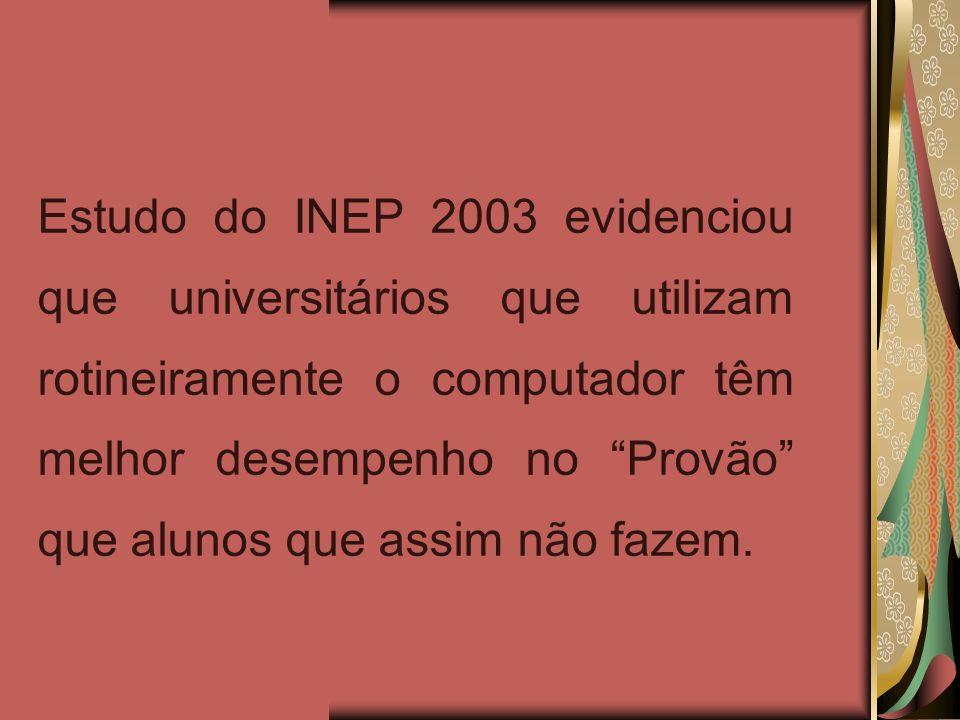 Estudo do INEP 2003 evidenciou que universitários que utilizam rotineiramente o computador têm melhor desempenho no Provão que alunos que assim não fazem.
