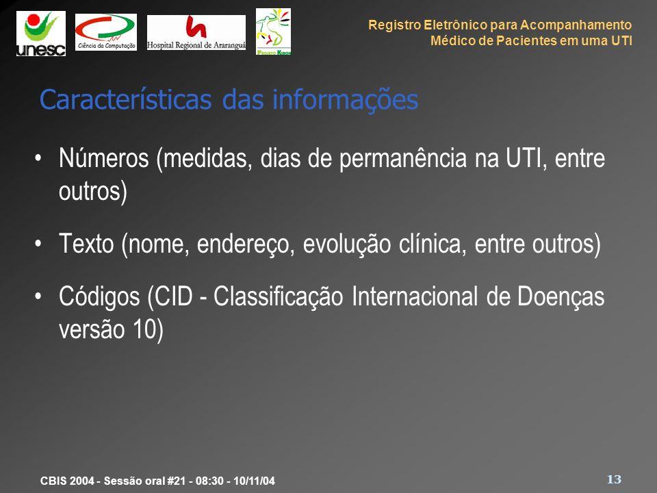 Características das informações