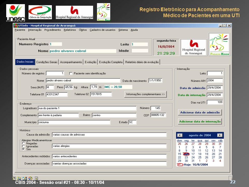 Protótipo Dados pessoais, endereço, histórico, dados sobre a internação.