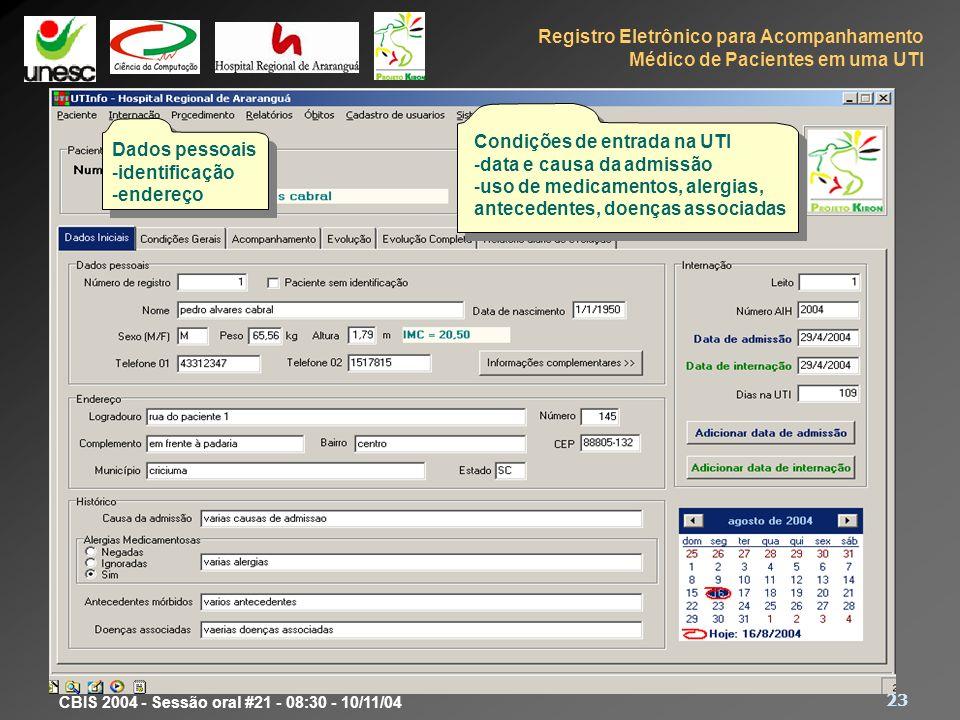 Protótipo Condições de entrada na UTI Dados pessoais