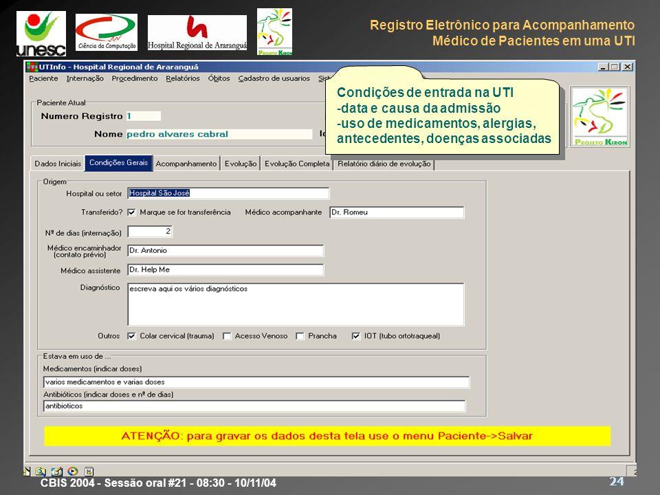 Protótipo Condições de entrada na UTI data e causa da admissão