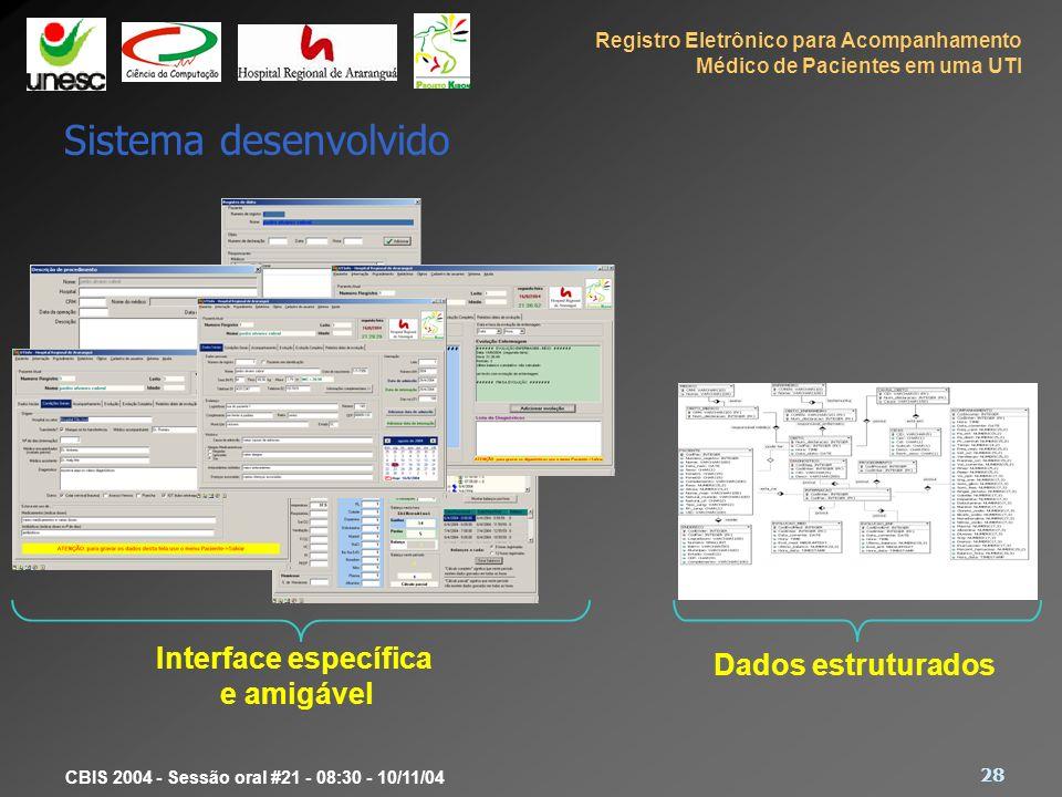 Sistema desenvolvido Interface específica Dados estruturados