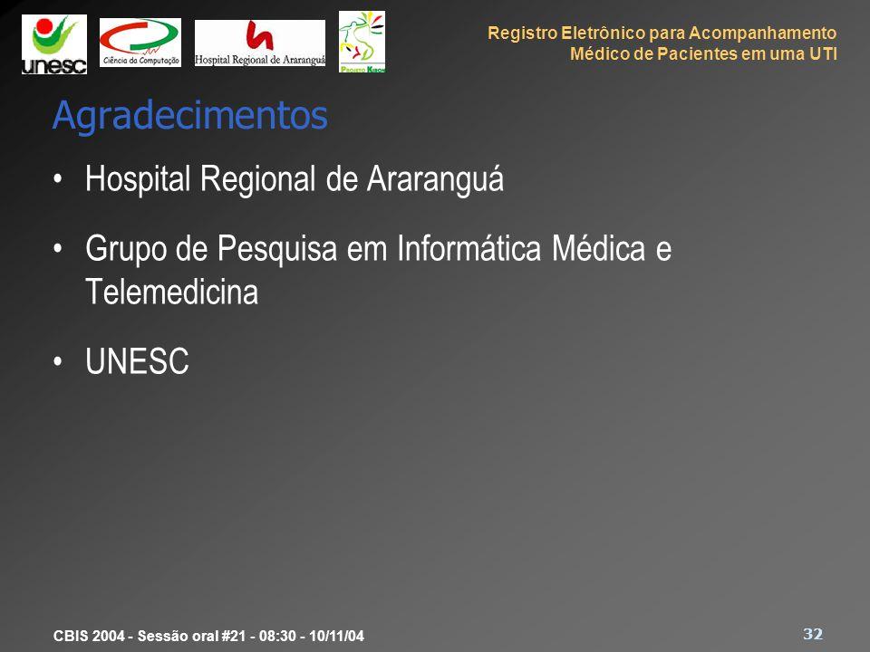 Agradecimentos Hospital Regional de Araranguá