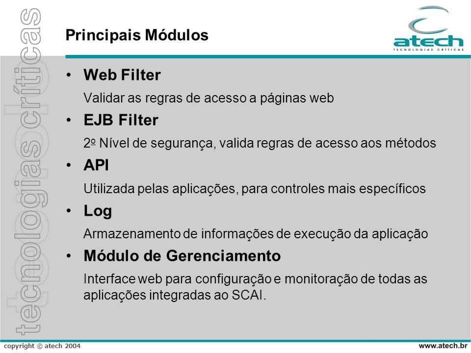 Principais Módulos Web Filter. Validar as regras de acesso a páginas web. EJB Filter. 2o Nível de segurança, valida regras de acesso aos métodos.