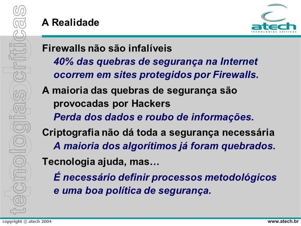 A Realidade Firewalls não são infalíveis 40% das quebras de segurança na Internet ocorrem em sites protegidos por Firewalls.