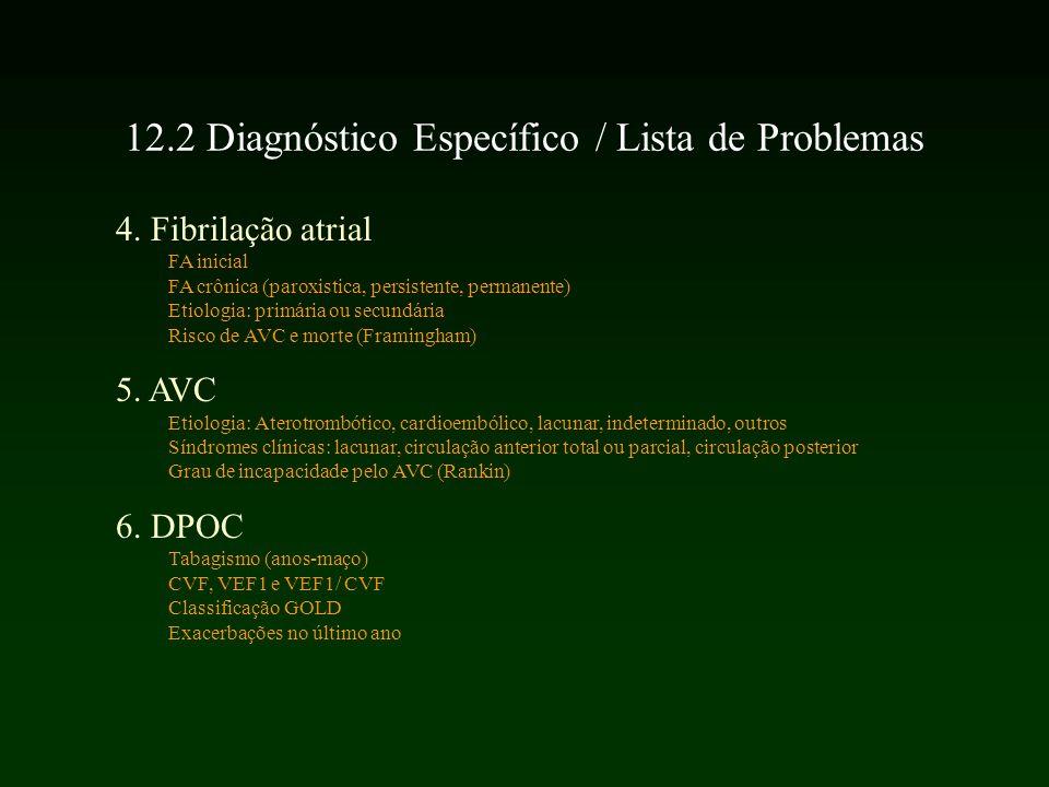 12.2 Diagnóstico Específico / Lista de Problemas