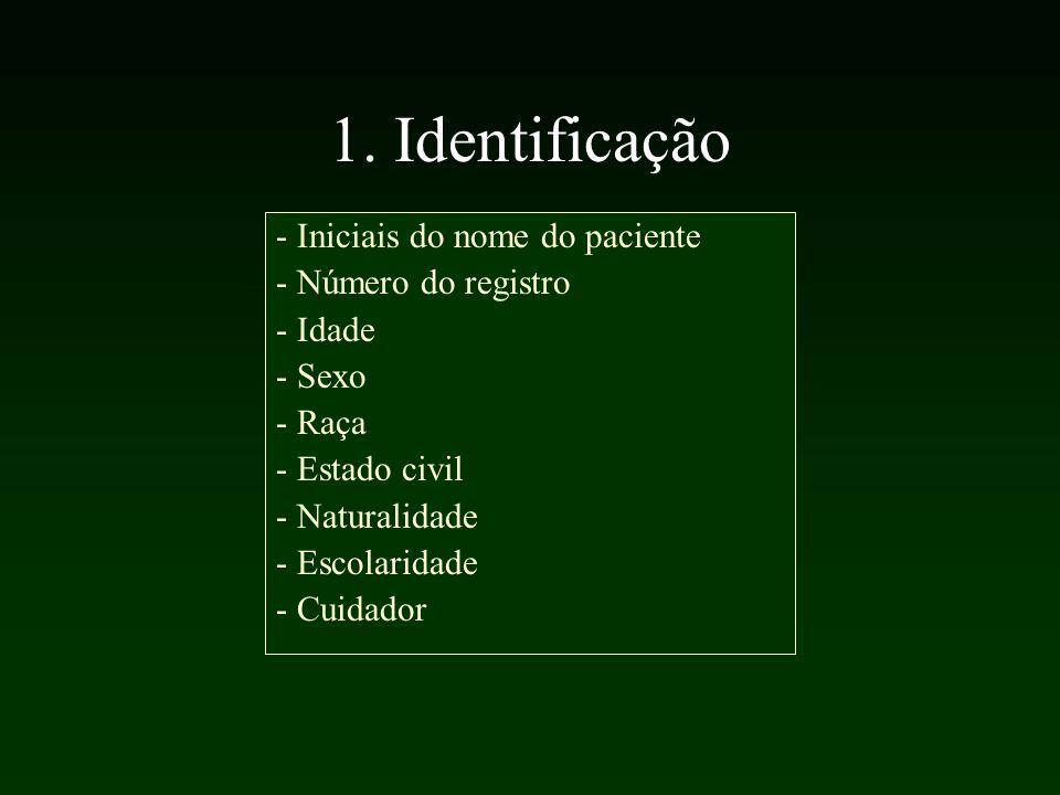 1. Identificação - Iniciais do nome do paciente - Número do registro