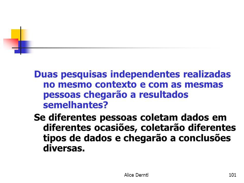 Duas pesquisas independentes realizadas no mesmo contexto e com as mesmas pessoas chegarão a resultados semelhantes