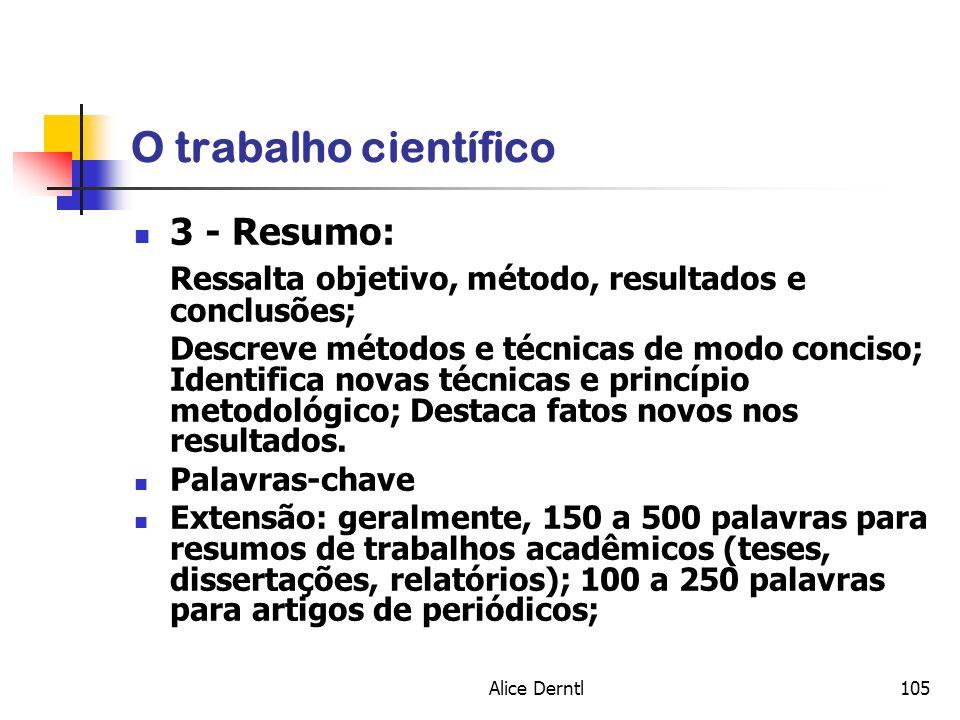 O trabalho científico 3 - Resumo: