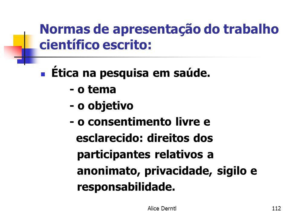 Normas de apresentação do trabalho científico escrito: