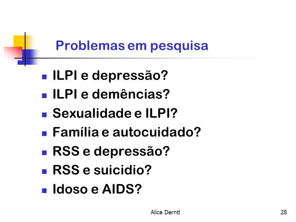 Problemas em pesquisa ILPI e depressão ILPI e demências
