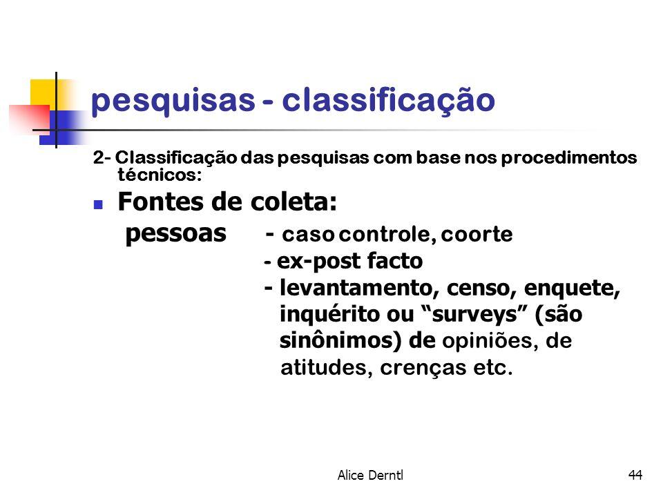 pesquisas - classificação