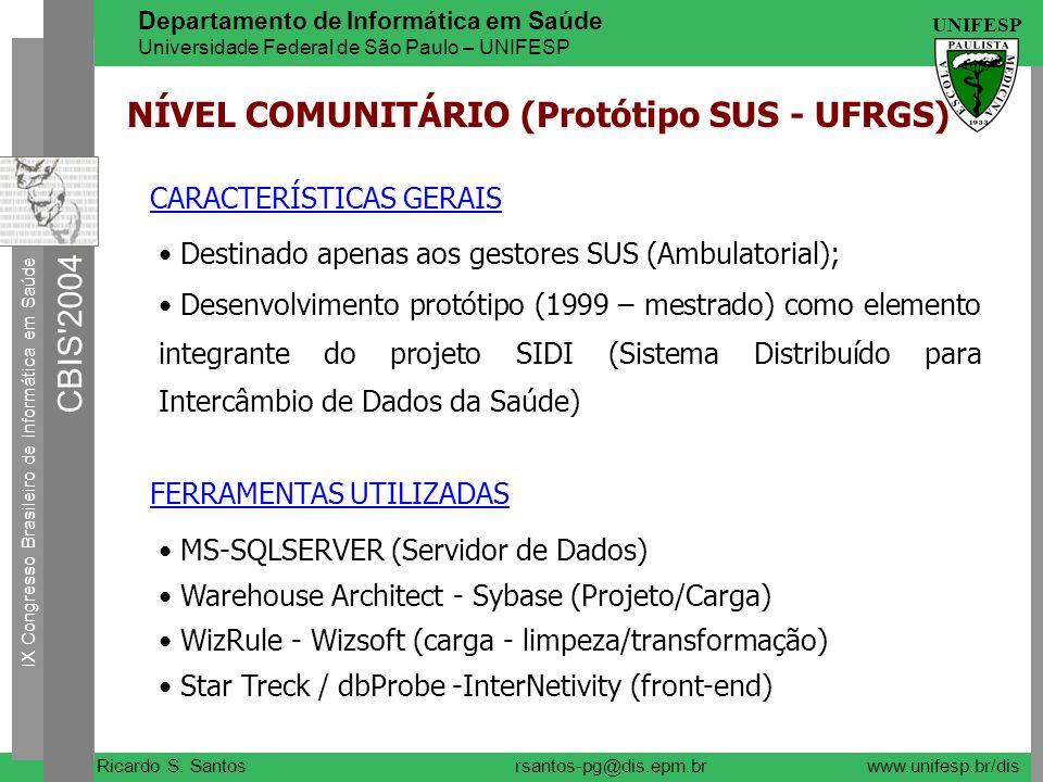 NÍVEL COMUNITÁRIO (Protótipo SUS - UFRGS)