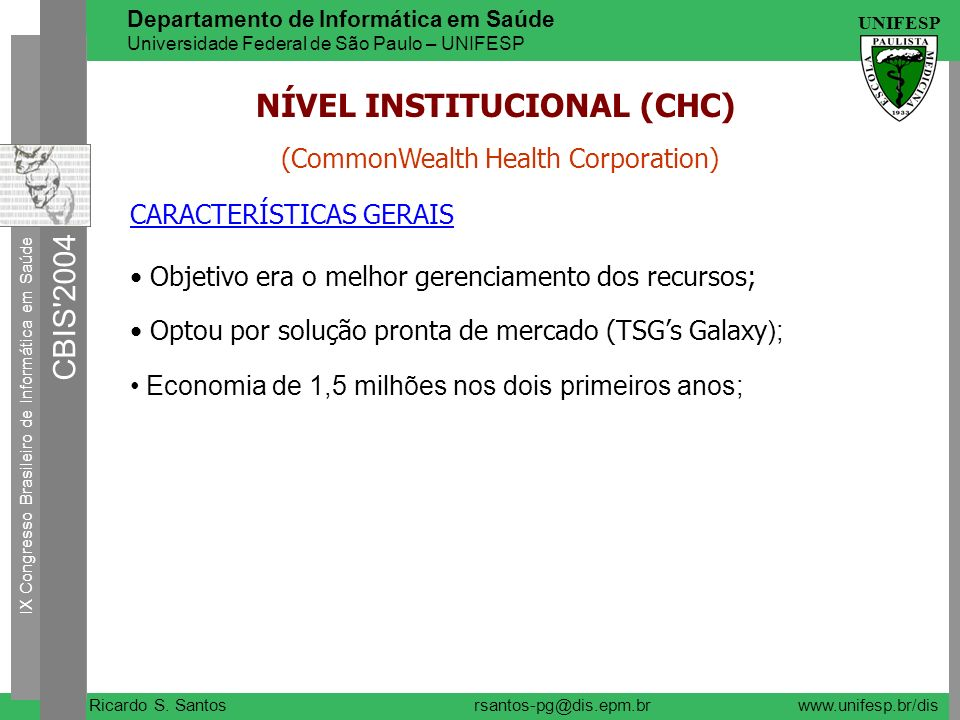 NÍVEL INSTITUCIONAL (CHC)